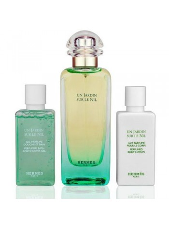 Hermes Un Jardin Sur le Nil Подарочный набор (туалетная вода 100 мл + лосьон для тела 40 мл + гель для душа 40 мл)